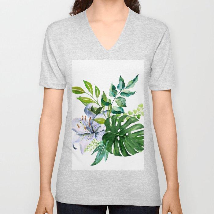 Flower and Leaves Unisex V-Neck