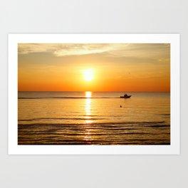 Yellow Sunset Ocean Art Print