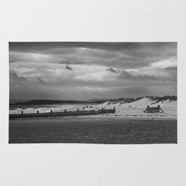 Panaromic of Lossiemouth beach on west coast of Scotland Rug