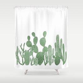 Green cactus garden on white Shower Curtain