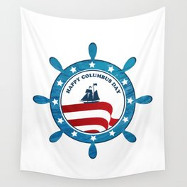 Columbus Ship steering wheel - Happy Columbus Day Wall Tapestry
