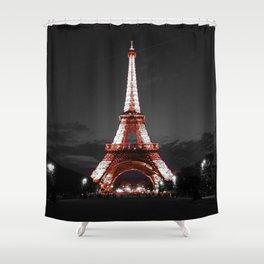 Paris Eiffel Tower Pink Night Shower Curtain