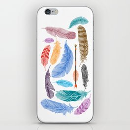 Feathers on White iPhone Skin