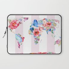 Floral World - Pink Stripe Laptop Sleeve