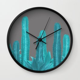 Agave Cactus Turquoise - grey Wall Clock
