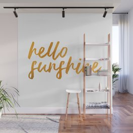 Hello Sunshine - Gold and white background Wall Mural
