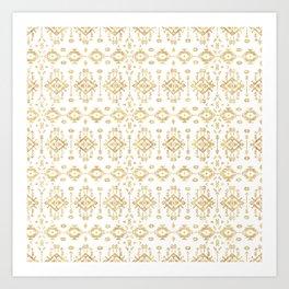 Luxury gold geometric tribal Aztec pattern Art Print