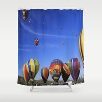 hot air balloons Shower Curtains featuring Hot Air Balloons California by John Lyman Photos