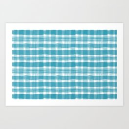 Watercolor Brushstroke Plaid Pattern Pantone Barrier Reef 17-4530 Art Print
