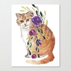 cat with flower boa Canvas Print