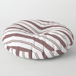 Pantone Red Pear and White Stripes Angled Lines Floor Pillow