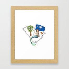 South Carolina Mermaid Framed Art Print