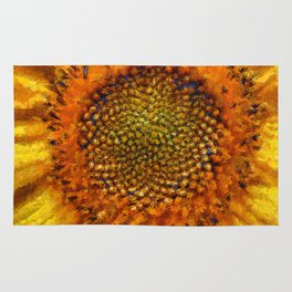 Sunflower and Seeds In Van Gogh Style Rug