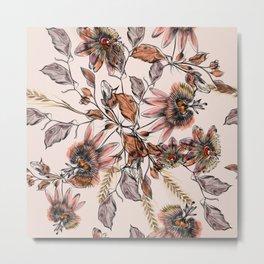 Tropical drawings of pasiflora flowers Metal Print