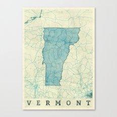 Vermont State Map Blue Vintage Canvas Print