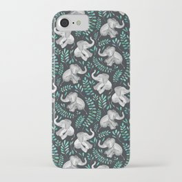 Laughing Baby Elephants – emerald and turquoise iPhone Case