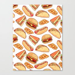 Pattern with burgers, sandwiches, tacos, hot dogs and onion rings Canvas Print