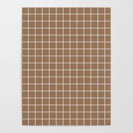Liver chestnut - brown color - White Lines Grid Pattern Poster