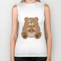 teddy bear Biker Tanks featuring Teddy Bear by EinarOux
