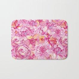 Rose pattern - Floral roses watercolor pattern Bath Mat