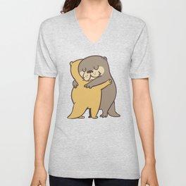 Otter Hugs Unisex V-Neck