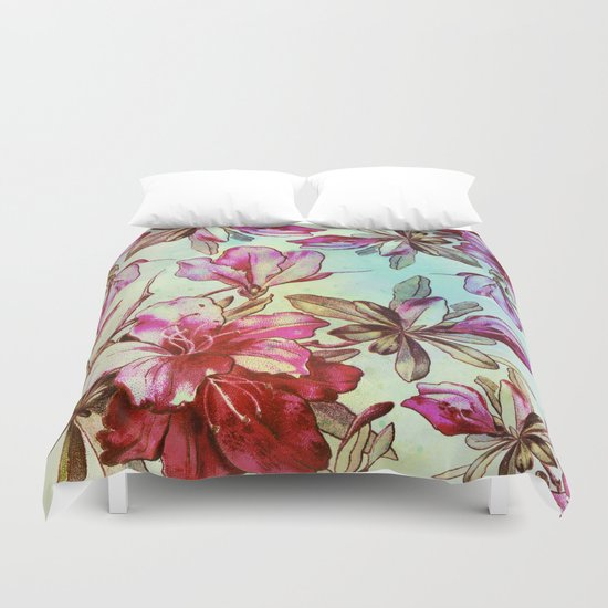 pink lily and turquoise touch Duvet Cover