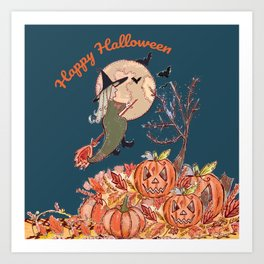 Witch On A Broomstick Art Print