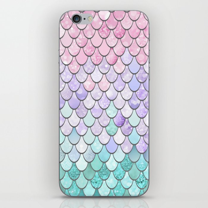 Mermaid Pastel Pink Purple Aqua Teal iPhone Skin