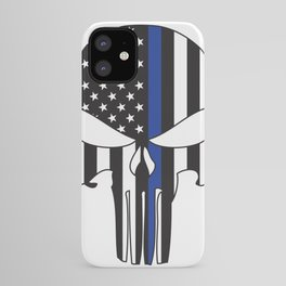 Punisher Skull American Flag Thin Blue Line iPhone Case