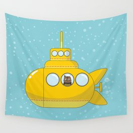 Yellow submarine with a cat and bubbles Wall Tapestry