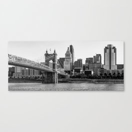 The Queen City Panoramic - Cincinnati Skyline - Black and White Canvas Print