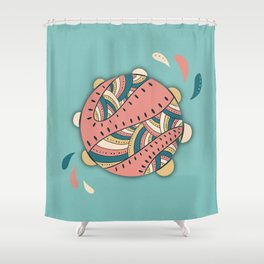 Music Fun / Tambourine / Green & Pink Shower Curtain