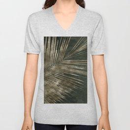 Golden green palm leaves pattern Unisex V-Neck