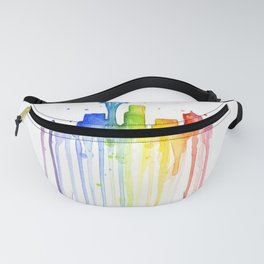Seattle Skyline Rainbow Watercolor Fanny Pack