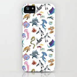 Marine creatures pattern in white iPhone Case