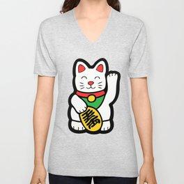 Lucky Cat Pattern Unisex V-Neck
