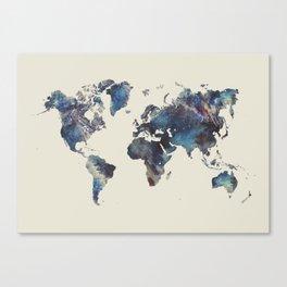 world map 124 blue  #worldmap #map Canvas Print