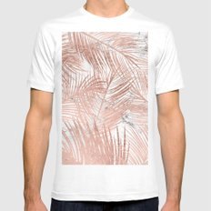 Tropical modern faux rose gold palm tree leaf white marble pattern White Mens Fitted Tee MEDIUM