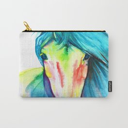 Neon Rainbow Watercolor Horse Carry-All Pouch