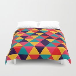 Colorful Triangles (Bright Colors) Duvet Cover