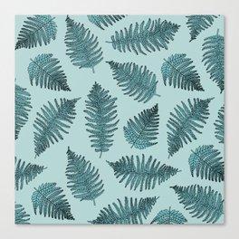 Blue fern garden botanical leaf illustration pattern Canvas Print