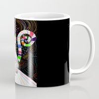 space cat Mugs featuring Space cat by ezgi karaata