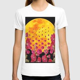 SURREAL HOLLYHOCKS RISING GOLDEN MOON PATTERN T-shirt