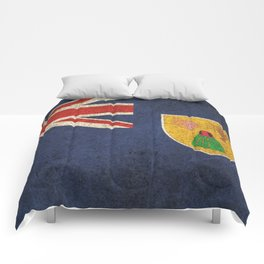 Old and Worn Distressed Vintage Flag of Turks and Caicos Comforters