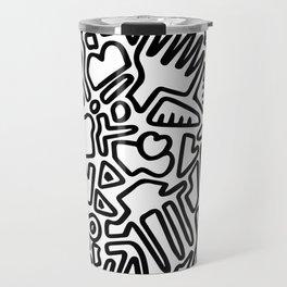 black & white doodle Travel Mug