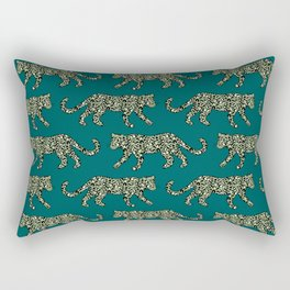 Kitty Parade - Olive on Dark Teal Rectangular Pillow