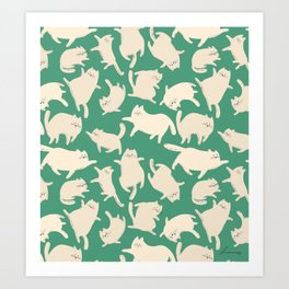 White Cats Pattern Art Print