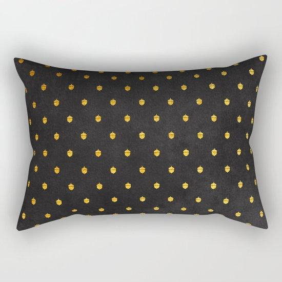 AUTUMN - gold acorns on chalkboard background Rectangular Pillow
