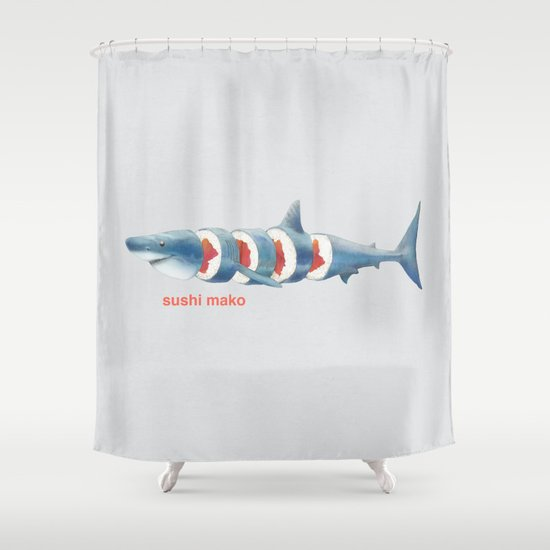 Sushi Mako (color option) Shower Curtain
