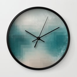 Abstract Pixelated Teal Lake and Mountain Wall Clock